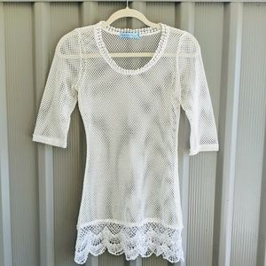 Swimsuit cover-up size Xsmall white net lace mini.
